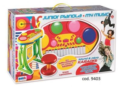 Set pian cu scaunel si microfon karaoke copii