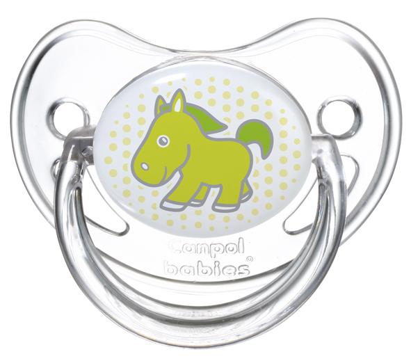 Suzeta rotunda din silicon Transparenta 0-6 luni Verde