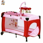 BabyGo  Patut pliant cu 2 nivele si mini-carusel Sleeper Deluxe roz