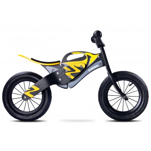 Bicicleta de lemn fara pedale Enduro Yellow