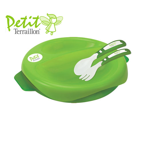 Farfurie termica 2 in 1 si set tacamuri Green