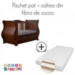 Set patut + salteluta pentru bebelusi Louis Walnut Tutti Bambini