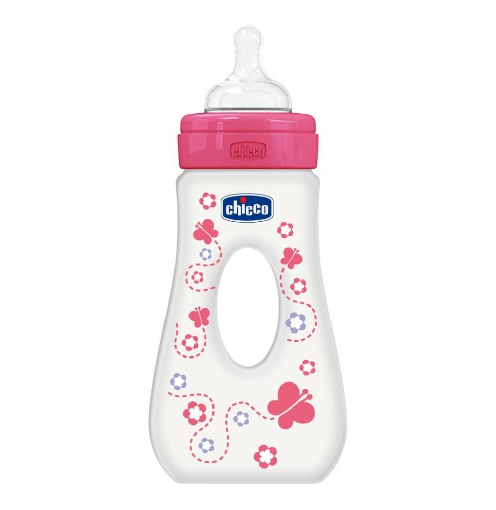 Biberon Chicco WellBeing plastic cu maner, 240ml, roz, T.s., flux rapid, 4luni+, 0 BPA