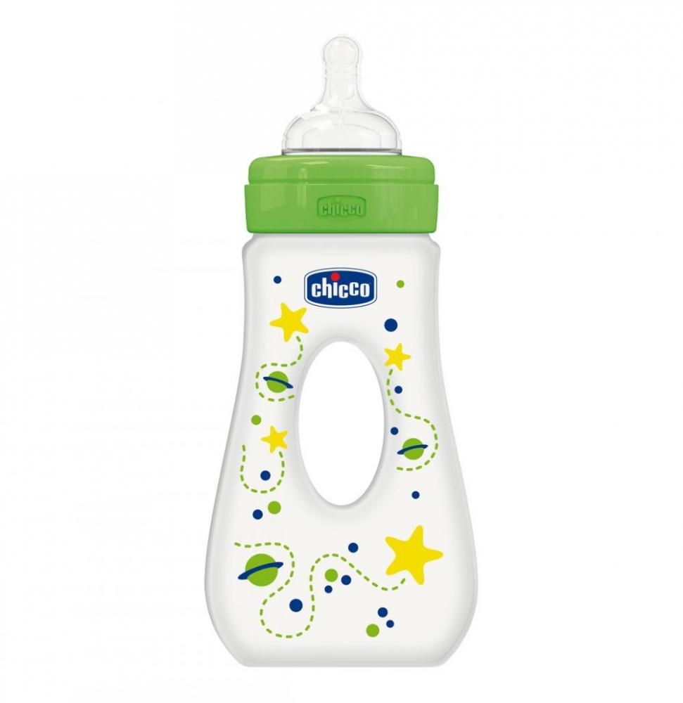 Biberon Chicco WellBeing plastic cu maner, 240ml, unisex, T.s., flux rapid, 4luni+, 0 BPA