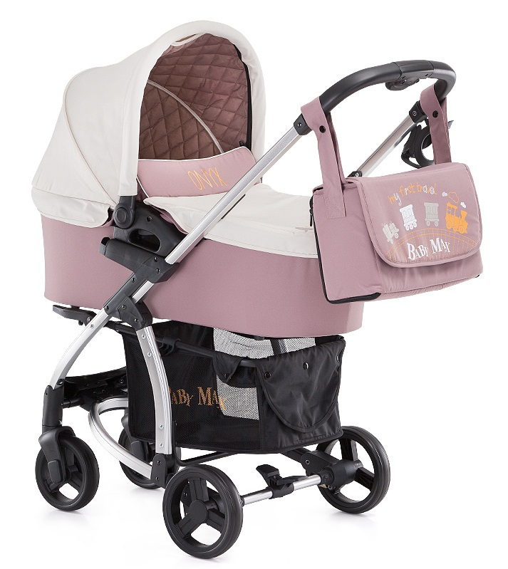 Carucior Baby Max Onyx 2 in 1 cu landou train brown