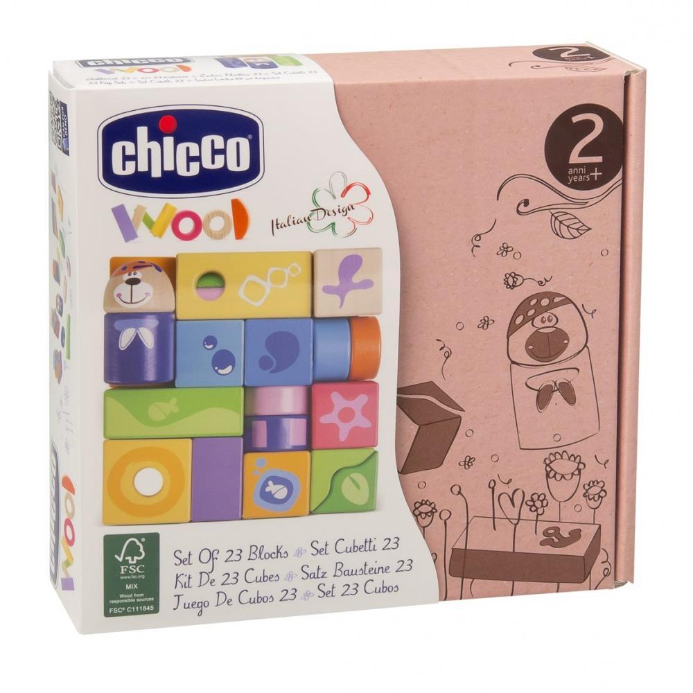 Jucarie Chicco de lemn Set 23 Cuburi
