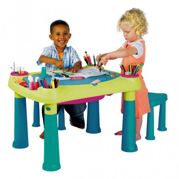 Masuta joaca copii Verde + 2 scaune