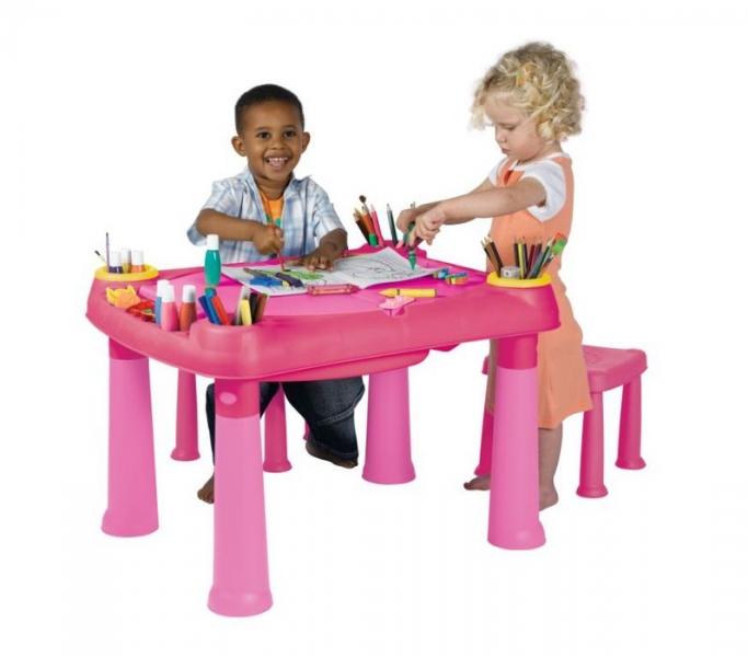 Masuta joaca copii Roz + 2 scaune