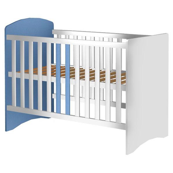 Patut copii din lemn Anne 120×60 cm alb-albastru din categoria Camera copilului de la Hubners