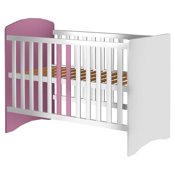 Patut copii din lemn Anne 120×60 cm alb-roz din categoria Camera copilului de la Hubners