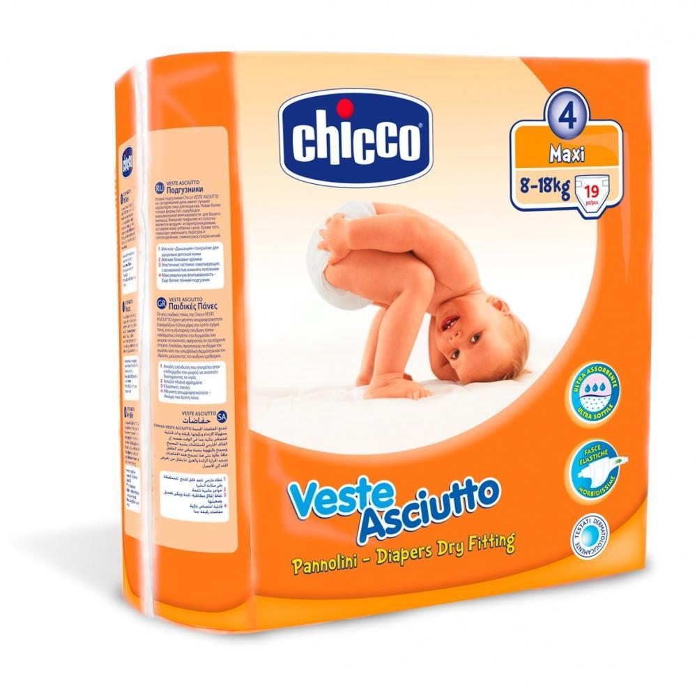 Scutece Chicco unica folosinta maxi Nr. 4 (8-18 kg ), 19 buc