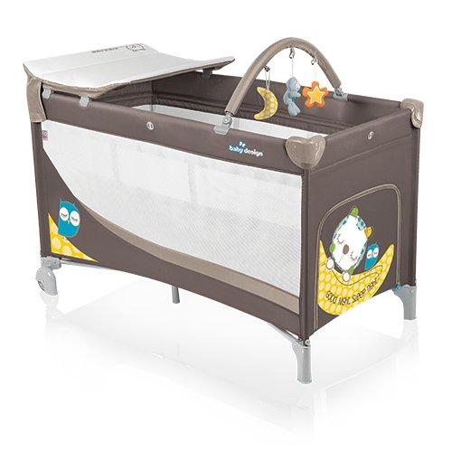 Patut pliabil cu doua nivele Baby Design Dream Brown