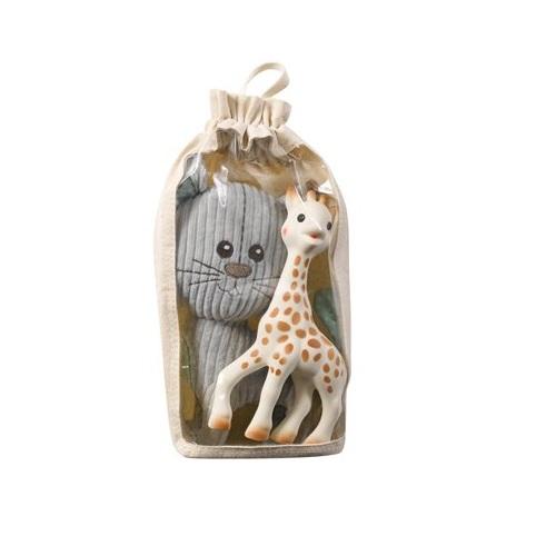 Set Pisica Lazare din plus si Girafa Sophie din cauciuc natural