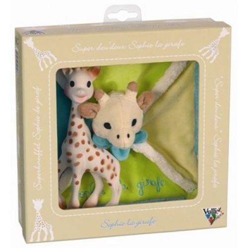 Set cadou girafa Sophie si batistuta moale in cutie cadou