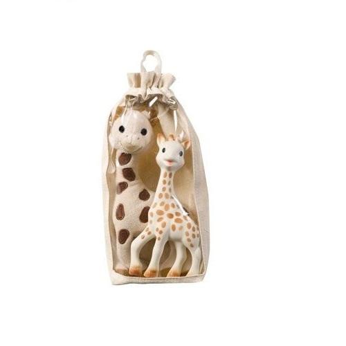 Set girafa Sophie din cauciuc natural si girafa din plus Vulli