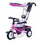 Tricicleta Toyz cu maner si roti gonflabile Derby Roz