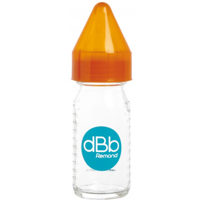 Biberon sticla 110 ml, Regul Air, tetina anticolici din silicon NN 0-4 luni (orange)