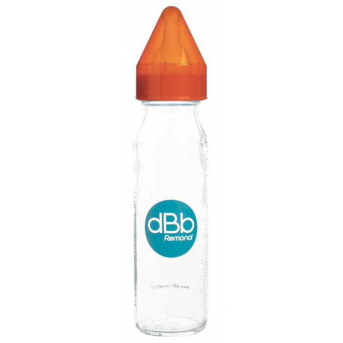 Biberon sticla 240 ml, Regul Air, tetina anticolici din silicon NN 0-4 luni (orange)