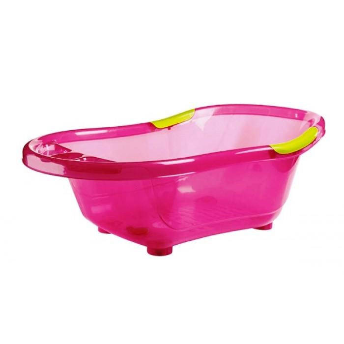Cadita de baie, cu dop scurgere, baza si manere antiderapante (roz)