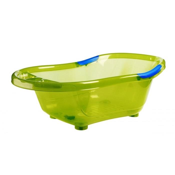Cadita de baie, cu dop scurgere, baza si manere antiderapante (verde)