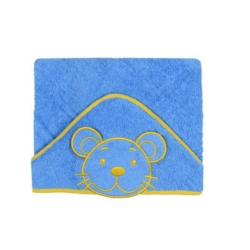 Prosop de baie cu gluga 76 x 76 cm Happy Albastru