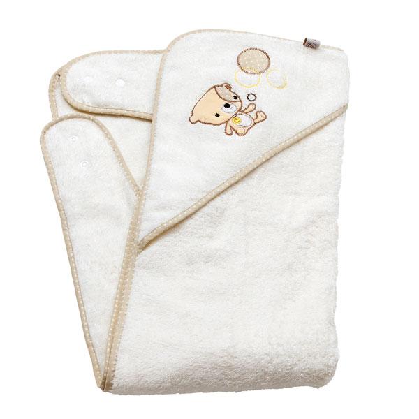 Prosop de baie pentru bebelus si mama bej Clevamama