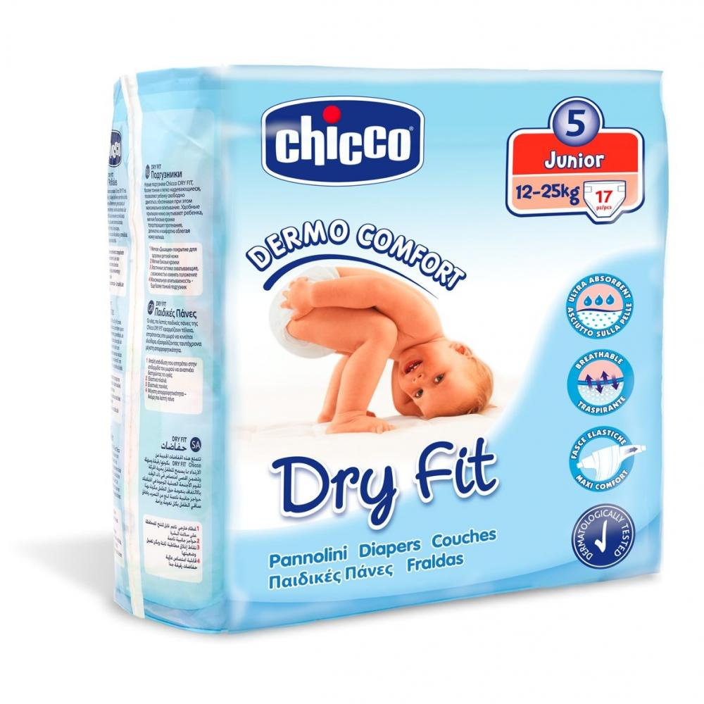 Scutece Chicco Dry Fit, unica folosinta, junior, Nr. 5 (12-25 kg), 17 buc