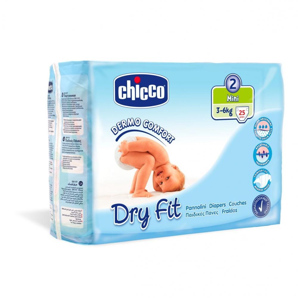 Scutece Chicco Dry Fit, unica folosinta, mini, Nr. 2 (3-6 kg), 25 buc