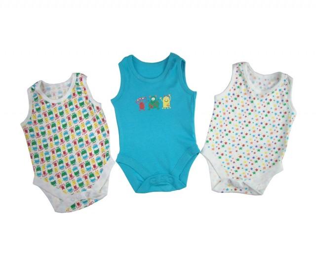 Set 3 bodiuri bebe StarsAlien (Masura 62 (1-3 luni))