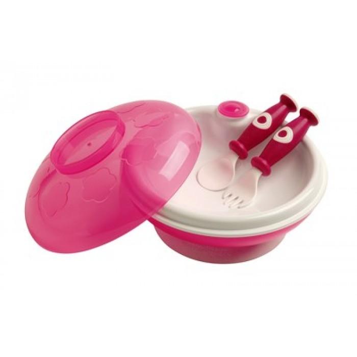 Set farfurie termica cu ventuza, capac-castron si tacamuri roz