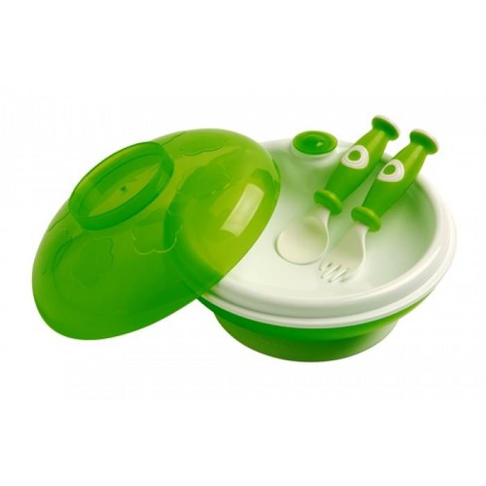 Set farfurie termica cu ventuza, capac-castron si tacamuri verde
