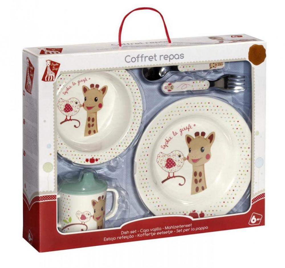 Set pentru masa melamina Girafa Sophie Kiwi cutie cadou
