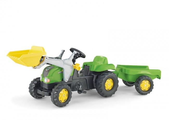 Tractor cu pedale Rolly Kid X Verde cu remorca si cupa