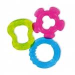 Set 3 inele gingivale refrigerante - culori asortate: bleu-verde-roz