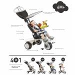 Tricicleta Smart Trike Recliner Stroller 4 in 1 Negru