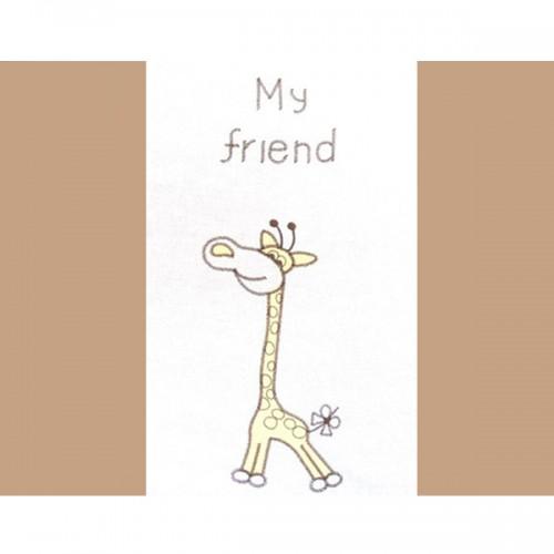 Lenjerie patut cu broderie Girafa 4 piese crem