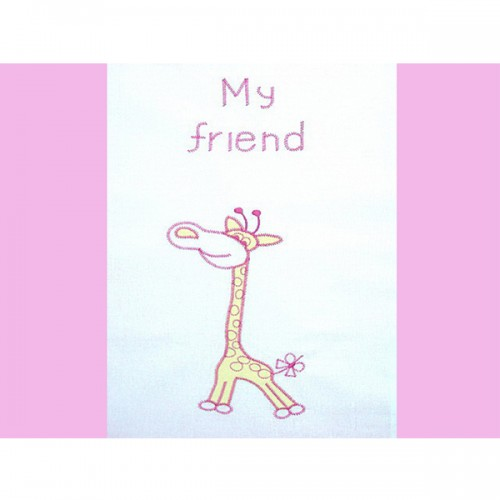 Lenjerie Patut Cu Broderie Girafa 4 Piese Roz