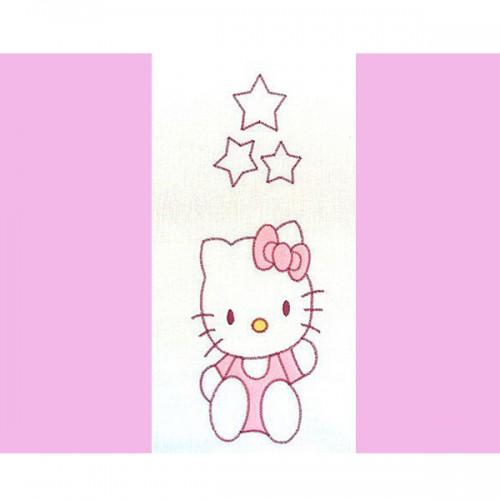Lenjerie patut cu broderie Kitty 4 piese roz