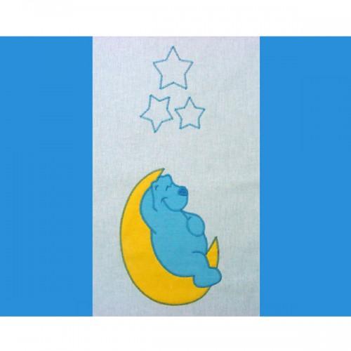 Lenjerie patut cu broderie Teddy Noapte Buna 4 piese albastru