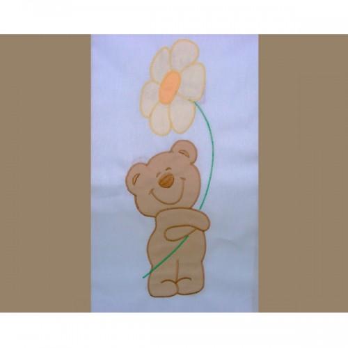 Lenjerie patut cu broderie Ursuletul Florar 4 piese crem