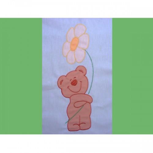 Lenjerie patut cu broderie Ursuletul Florar 4 piese verde
