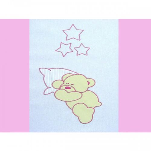 Lenjerie patut cu broderie Ursuletul Somnoros 4 piese roz