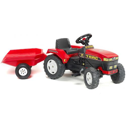 Tractor Trac Rosu cu Remorca si Pedale