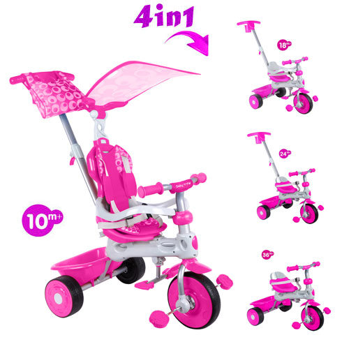 Tricicleta Baby Trike 4 in 1 Deluxe Pink