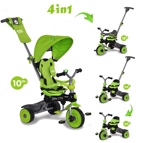 Tricicleta Baby Trike 4 in1 Dino Green