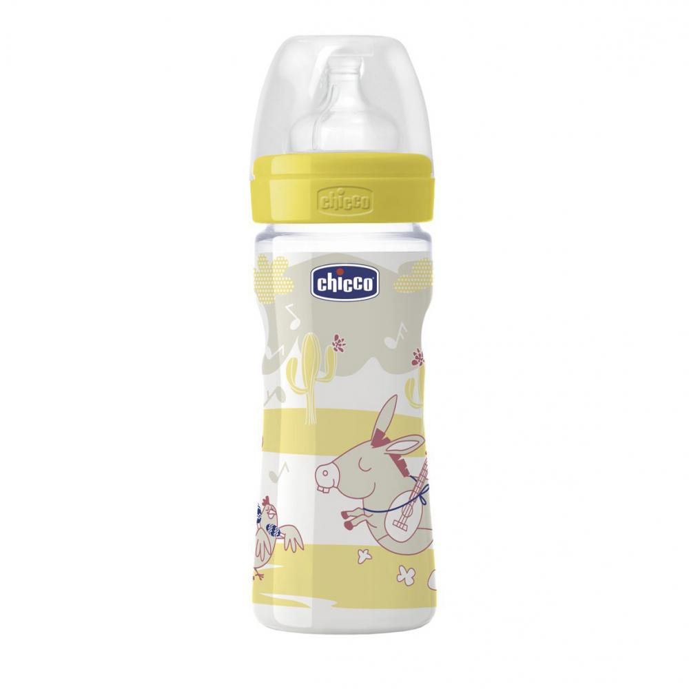 Biberon Chicco Well Being PP, romantic, 250ml, t.s., flux reglabil, 2luni+, 0BPA
