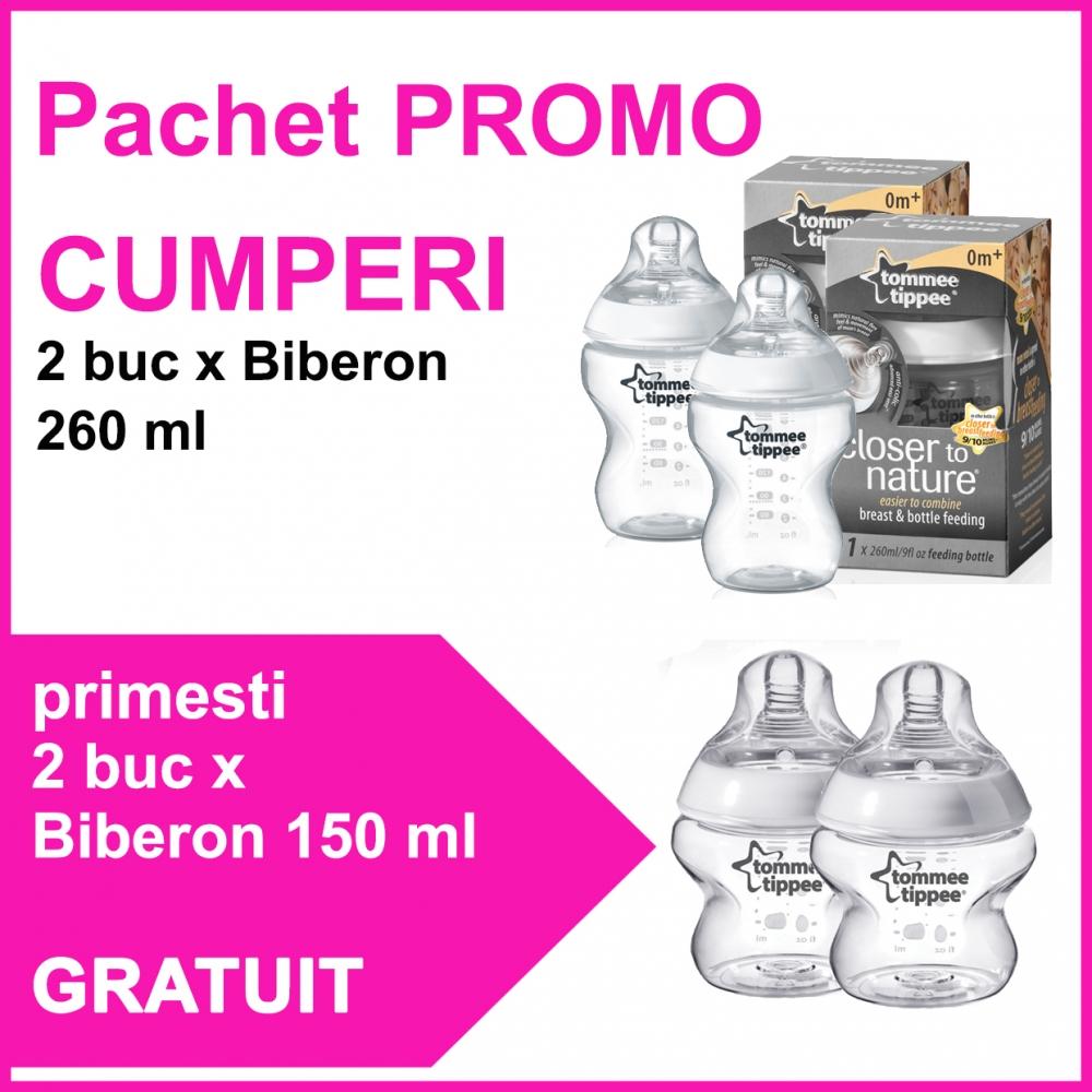 Pachet Promo 2 Biberoane 260 Ml + 2 Biberoane 150 Ml Cadou