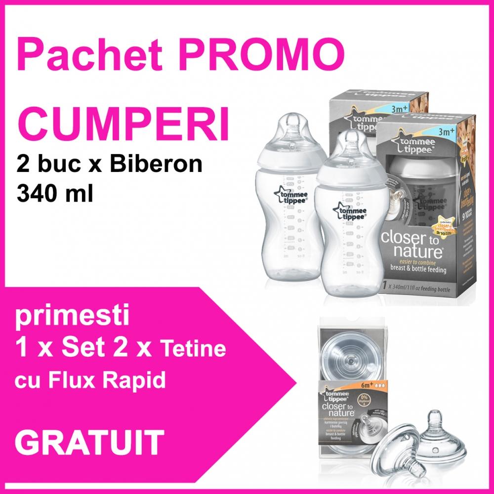 Pachet promo 2 Biberoane 340 ml + Set 2 Tetine Cu Flux Rapid CADOU