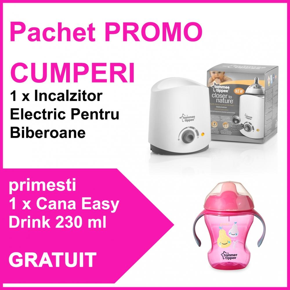 Pachet promo Incalzitor Electric Pentru Biberoane + Cana Easy Drink 230 ml fete CADOU