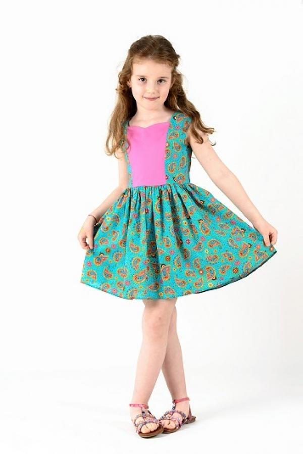 Rochita turquoise cu imprimeu vesel Elfbebe